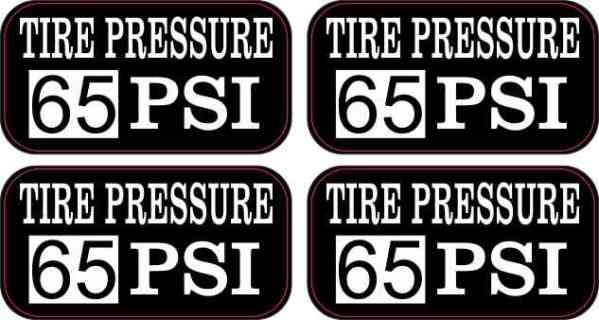 Tire Pressure 65 PSI Stickers
