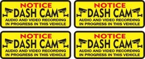 Notice Dash Cam Stickers