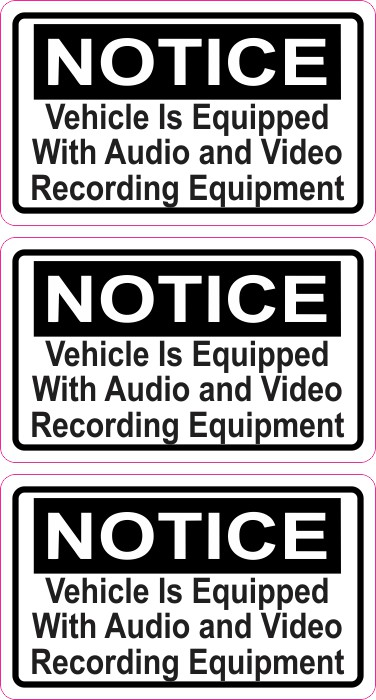 Notice Audio and Video Recording Stickers