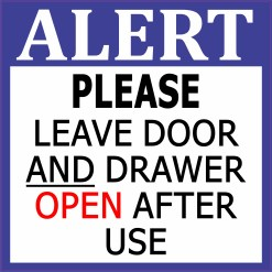 Leave Door and Drawer Open Sticker