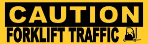 Caution Forklift Traffic Sticker