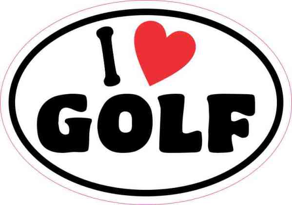 Oval I Love Golf Sticker