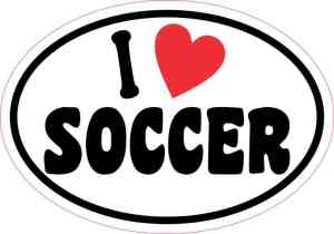 Oval I Love Soccer Sticker