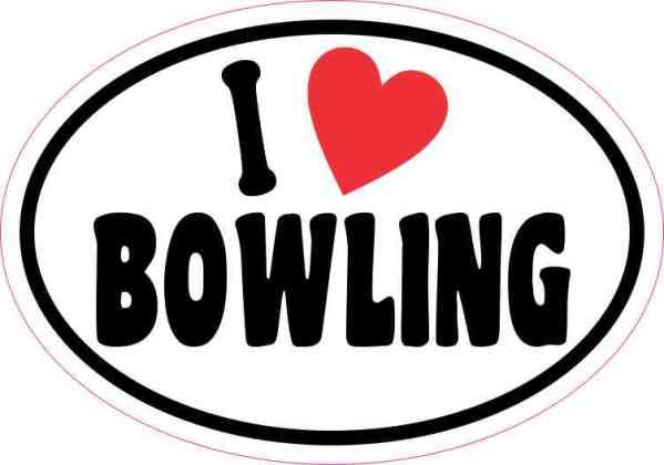 Oval I Love Bowling Sticker
