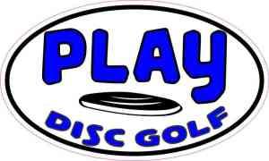 Blue Oval Play Disc Golf Sticker