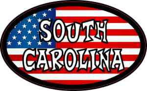 Oval American Flag South Carolina Sticker