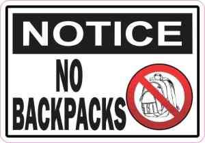 Notice No Backpacks Magnet