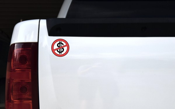 No Cash Symbol Stickers