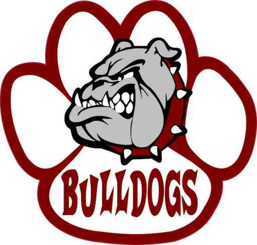 Maroon Bulldog Paw Sticker