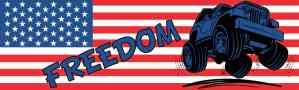Off-Roading Freedom American Flag Bumper Sticker
