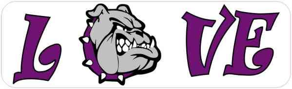Love Purple Bulldog Magnet