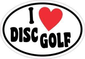 Oval I Love Disc Golf Sticker