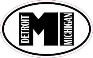 Oval MI Detroit Michigan Vinyl Sticker