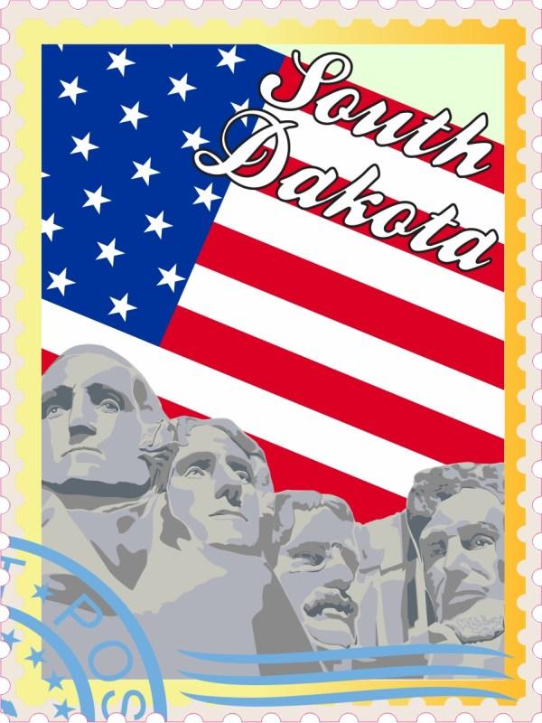 US Flag South Dakota Stamp Vinyl Sticker