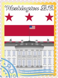 Washington DC Stamp Vinyl Sticker