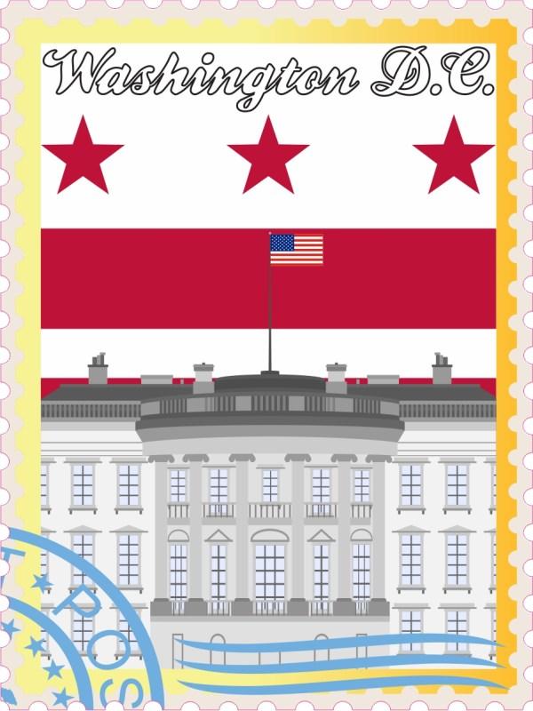 Washington DC Stamp Vinyl Sticker
