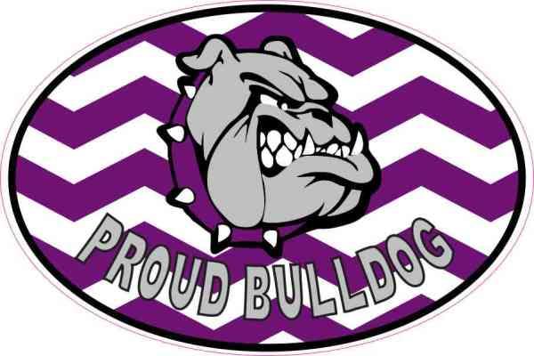 Purple Chevron Proud Bulldog Sticker