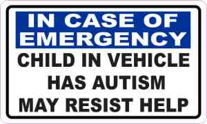 Child in Vehicle Has Autism Sticker