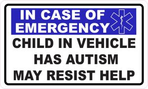 Star of Life Child in Vehicle Has Autism Vinyl Sticker