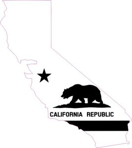 Die Cut Black and White California Flag Vinyl Sticker