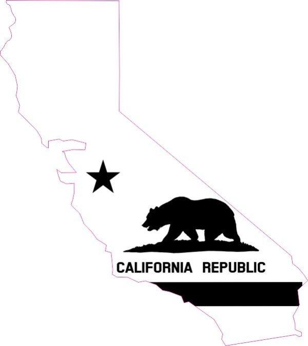 Die Cut Black and White California Flag Vinyl Sticker