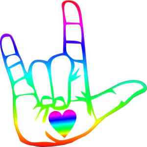 Colorful Heart Hand ASL I Love You Sticker