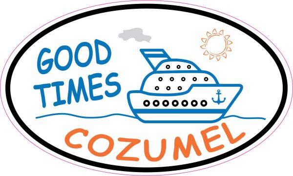 Orange and Blue Cruise Ship Oval Cozumel Sticker