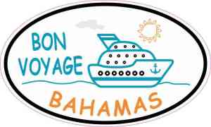 Orange and Blue Cruise Ship Oval Bahamas Sticker