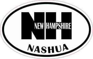 Oval NH Nashua Vinyl Sticker