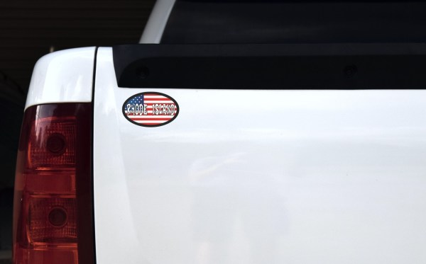 Oval US Flag Rhode Island Vinyl Sticker