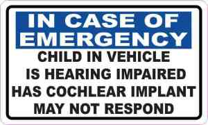 Child in Vehicle Has Cochlear Implant Vinyl Sticker
