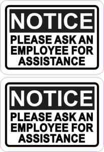 Ask for Assistance Vinyl Stickers