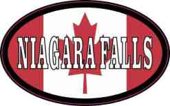Oval Canadian Flag Niagara Falls Vinyl Sticker
