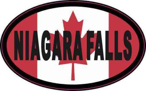 Oval Canadian Flag Niagara Falls Vinyl Sticker