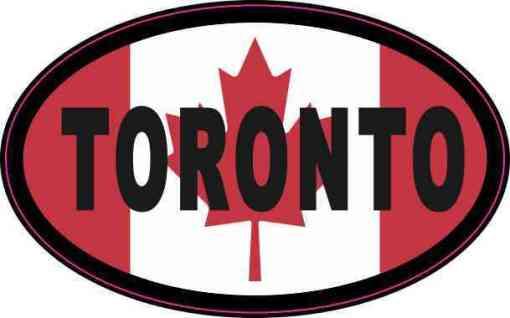Oval Canadian Flag Toronto Vinyl Sticker
