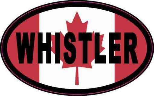 Oval Canadian Flag Whistler Vinyl Sticker