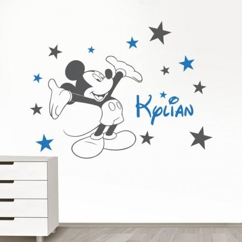 stickers muraux de decoration pour enfant sticker mickey avec prenom