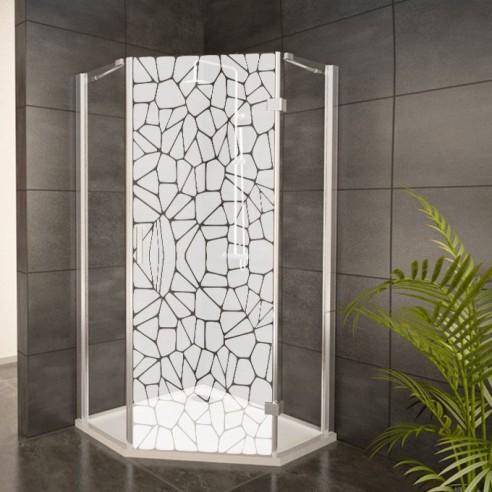 sticker galets depoli sable pour decoration paroi de douche pas cher