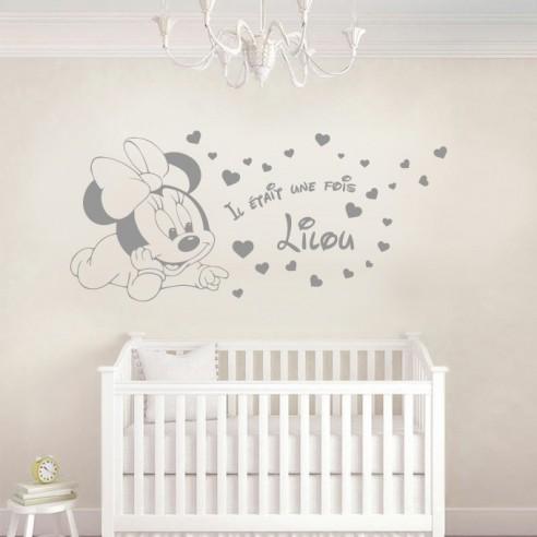 sticker deco enfant minnie bebe avec prenom personnalise stickers enfant