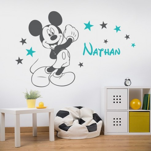 sticker mural mickey personnalise avec prenom sticker chambre enfant