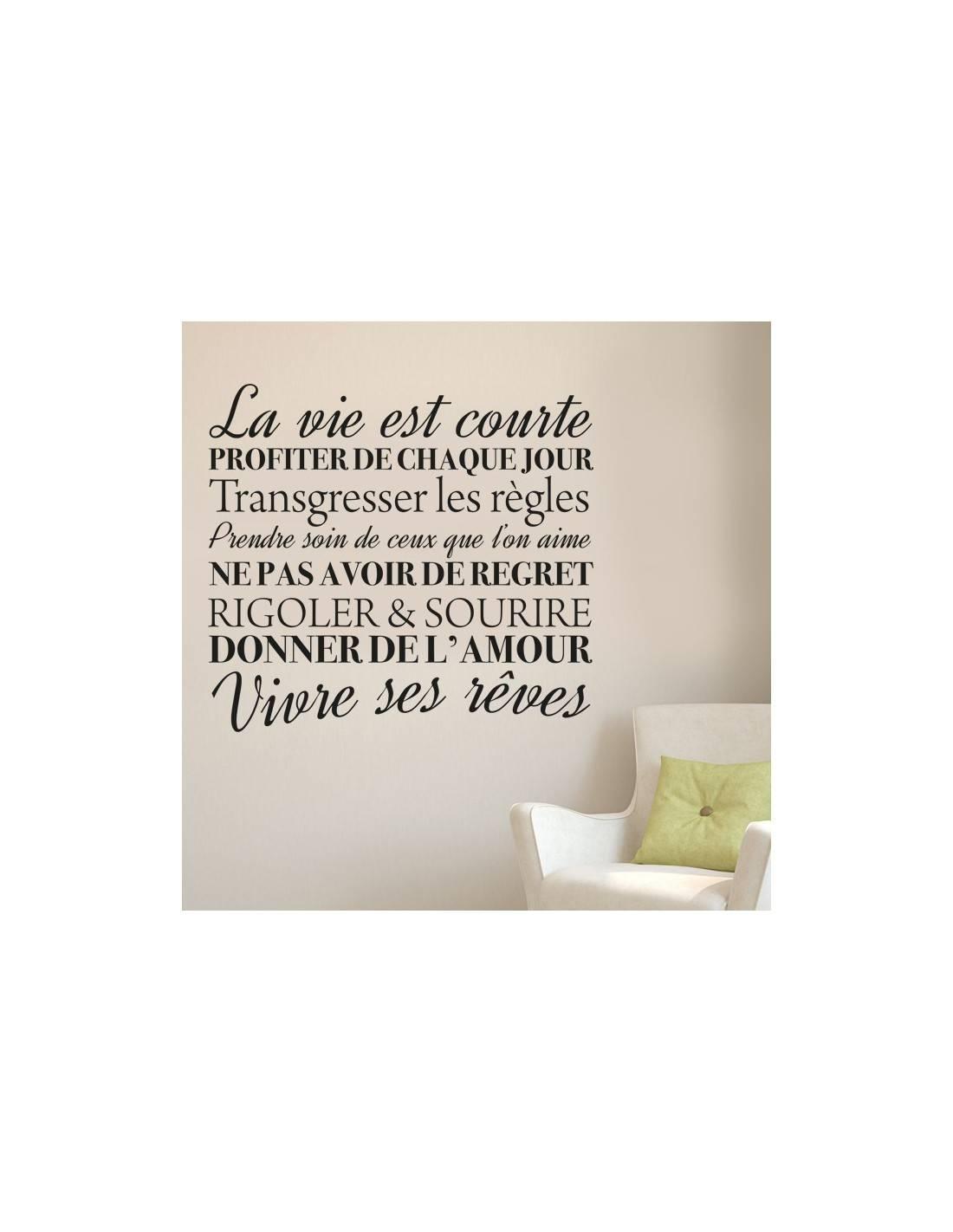 stickers muraux citation la vie est courte en profiter