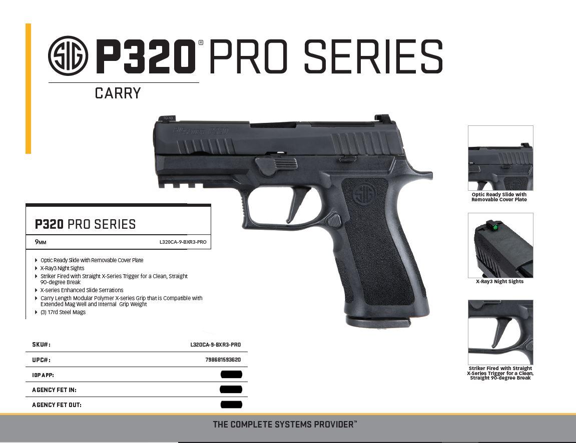 Sig 320 X-CARRY PROFESSIONAL L320CA-9-BXR3-PRO - California Disavowed, LLC