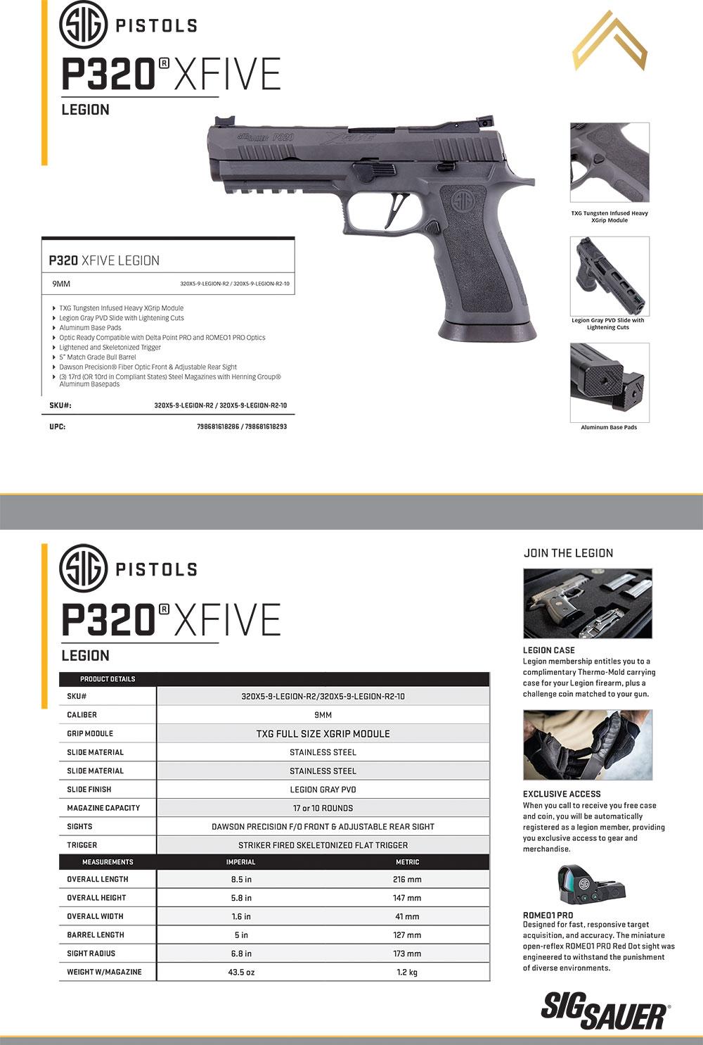 Sig Sauer P320 X Five Legion 5 Quot 9mm California