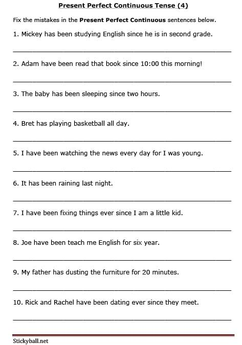 Sentences Perfect Continuous Tense Present