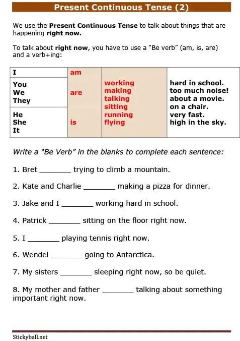 ESL Grammar: Present Continuous Tense (Practice) -