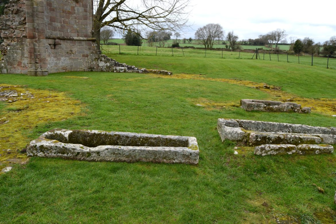 The high alter with stone caskets
