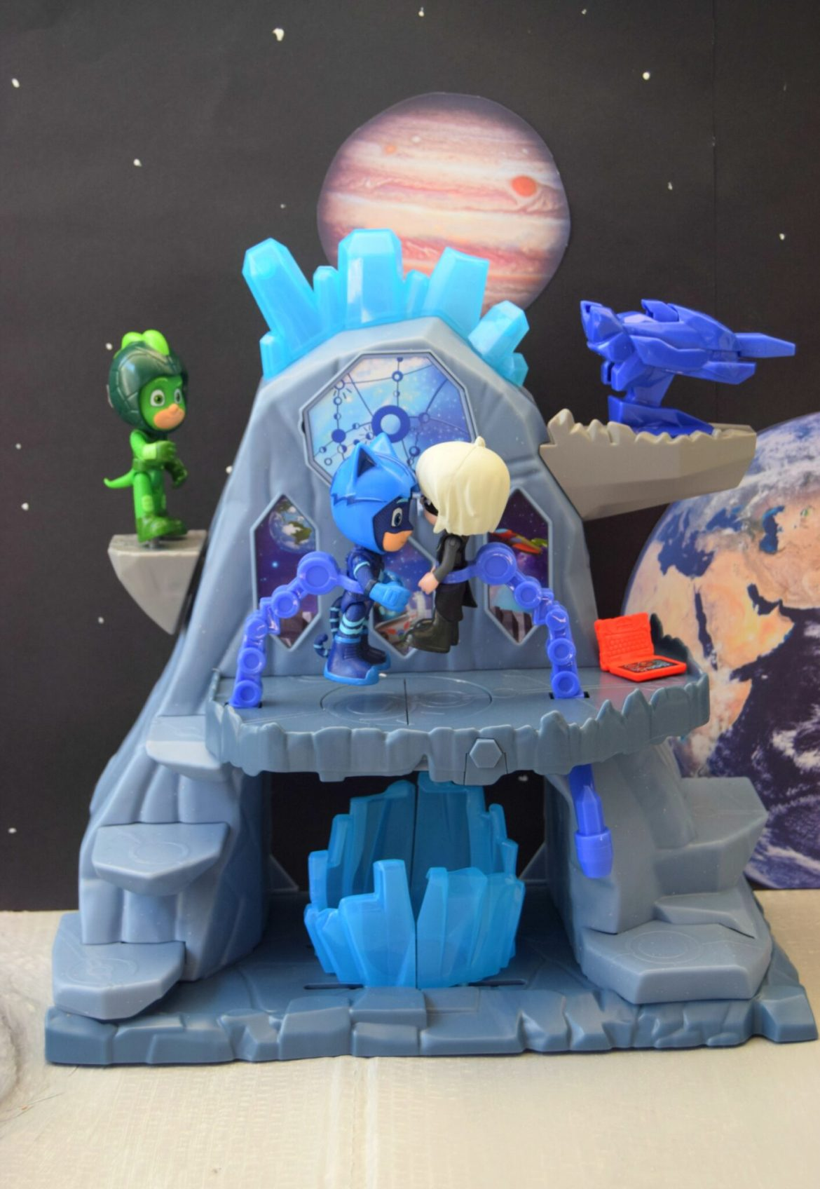 The Super Moon Fortress Playset with our PJ Masks Craft space background.