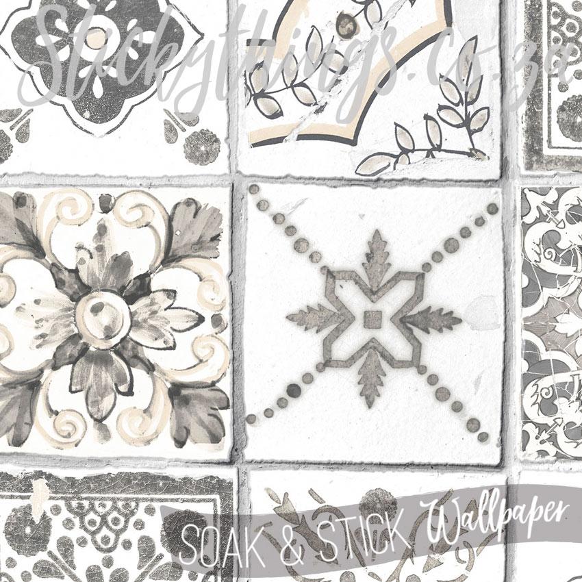 grey rustic tiles wallpaper scrubbable beige grey moroccan tiles