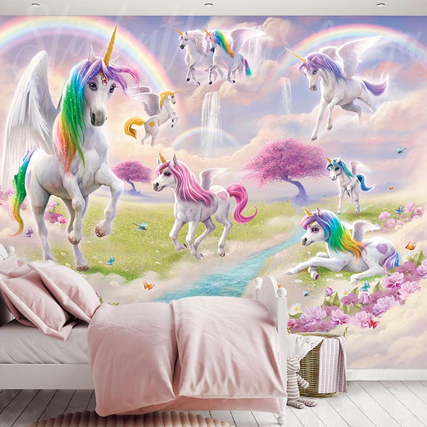 Magical Unicorn Mural Fantasy Unicorns And Rainbows Wall Mural