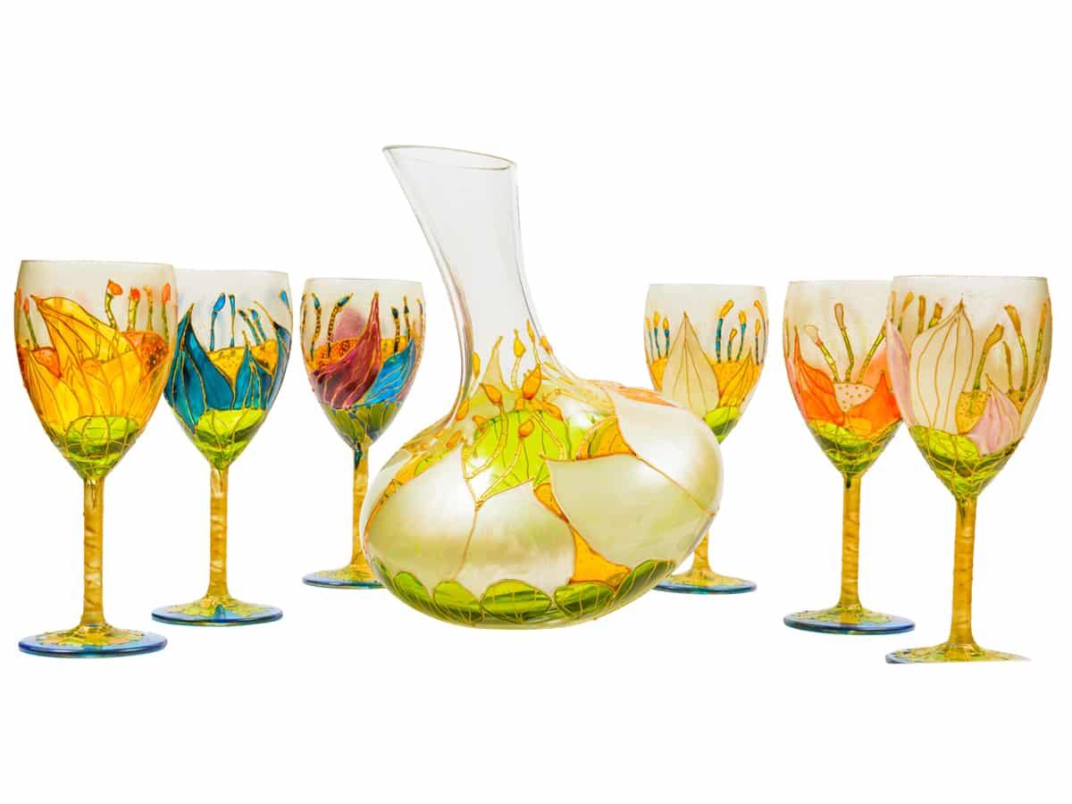 Set decantor si 6 pahare de vin – Colectia nuferi adormiti
